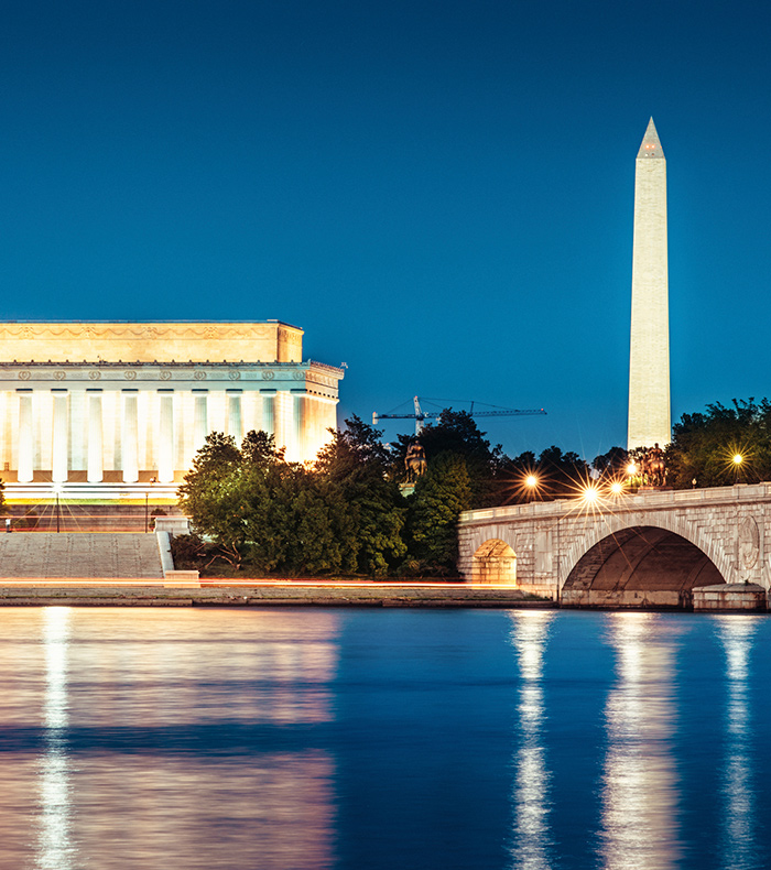 image of water with Washington monument in background